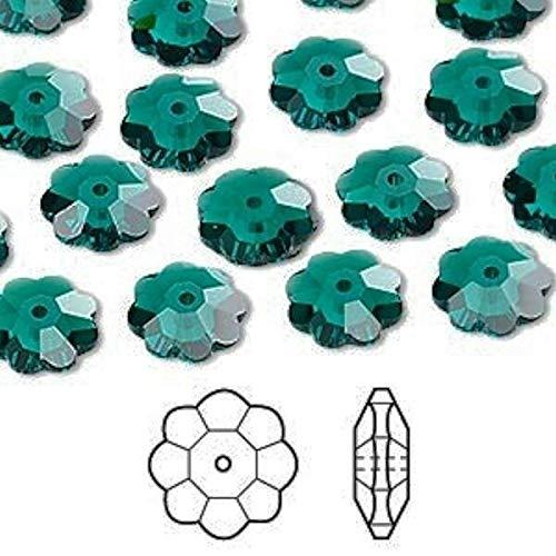 12 Swarovski Marguerite Lochrose Flower Crystal Bead 10X3.5Mm Emerald Green 3700 3700 Flower Beads Swarovski Crystal