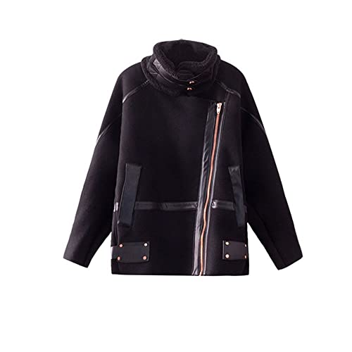 Encuadernados en piel negra de invierno abrigo de lana de cordero hembra suelta chaqueta de motocicl...