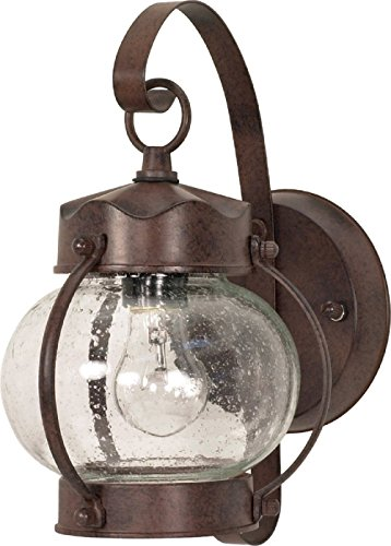 Filament Design 7778097631 1-Light Old Bronze Outdoor Onion Wall Lantern with Clear Seed Glass Shade,