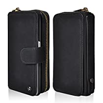 iPhone X Wallet Case, Cornmi Handhold Zipper Leather Purse with Detachable Magnetic Case Card Slot Pocket Mirror Phone Cover for Apple iPhone X 5.2 inch