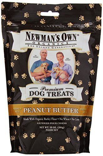 Newman's Own Organics Premium Dog Treats, Peanut Butter, Medium Size, 10-Ounce Bags (Pack of 6) by Newman's Own