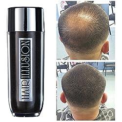 HAIR ILLUSION - 100% Natural Real Human Hair FibersNot Synthetic For Men & Women,Premium Hair Building Formulation~ LARGE 38g Bottle (dark brown)