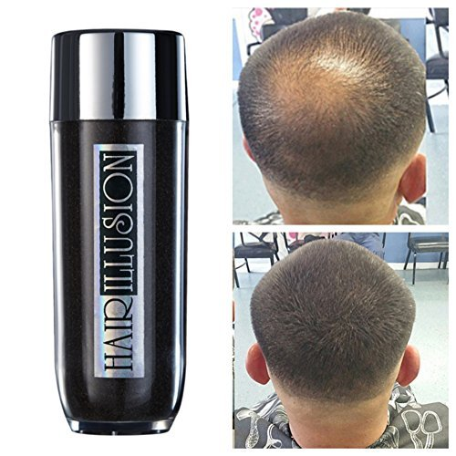 HAIR ILLUSION - 100% Natural Real Human Hair FibersNot Synthetic For Men & Women,Premium Hair Building Formulation~ LARGE 38g Bottle (dark brown)