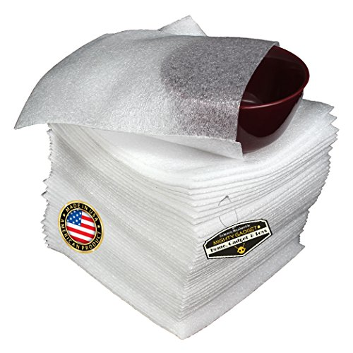 """50 Count x Mighty Gadget (R) 9-1/8"""" x 9-3/4"""" Foam Wrap Bowl Pouch, Cushion Pouch to Protect Dishes, Glasses, Porcelain & Fragile Items, Packing Supplies for Moving"""