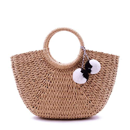 Hand Woven Womens Natural Straw Handbag Beach Grass Tote Bags Purse