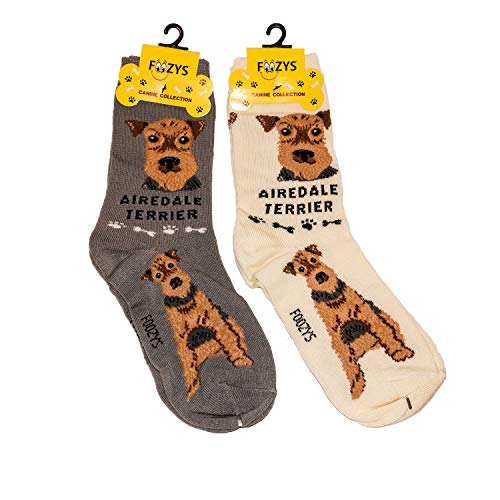 - Foozys Unisex Crew Socks | Canine/Dog Collection | Airedale Terrier