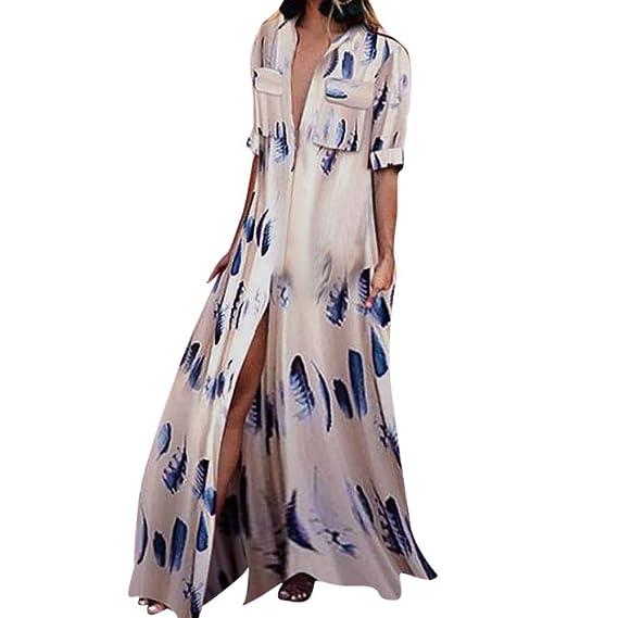 Beikoard Falda Maxi Péndulo Grande Vestido, Mujeres Plumaje Impreso Vestido De Media Manga con Bolsillos Vestido Largo: Amazon.es: Ropa y accesorios