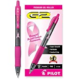 Pilot G2 Breast Cancer Awareness Pink Pens with Black Ink, Retractable Gel Ink Rolling Ball, Fine Point, Dozen...