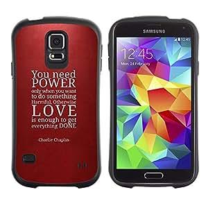 Paccase / Suave TPU GEL Caso Carcasa de Protección Funda para - Power Love Quote Maroon Red Text - Samsung Galaxy S5 SM-G900