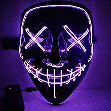 Dottiete Masks - Halloween Mask Led Purge Election Funny Festival Costume Supply Glow Dark - Light Masque Block Cloak Allhallow - 1PCs -