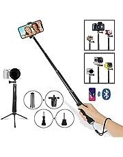 ANKKA Outdoor Viaggio Mano Selfie Stick, Soft-Touch, Alluminio allungabile monopiede con Telecomando Bluetooth Integrato per Smartphone, iPhone 7,6s, 6,5s, 5,5C, Smartphone Android (Nero)