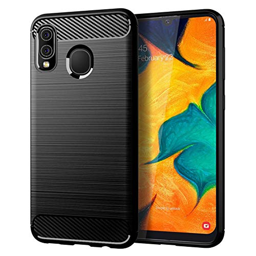 Samsung A20 case,Galaxy A20 Case,Galaxy A30 Case,MAIKEZI Soft TPU Slim Fashion Anti-Fingerprint Non-Slip Protective Phone Case Cover for Samsung Galaxy A20/A30(Black Brushed TPU)