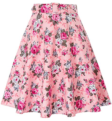 (Vintage Pleated Skirt Floral Printed A-line Midi Skirts with Pockets Floral-2,L )
