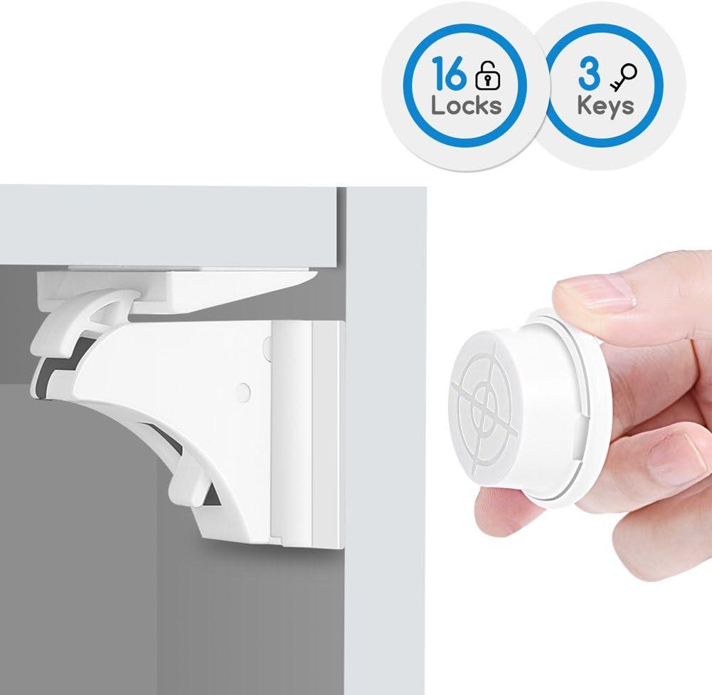 Baby Proofing Magnetic Cabinet Locks BALFER Child Safety No Drilling Lock for Drawer Cupboard Closet 16 Locks + 3 Keys