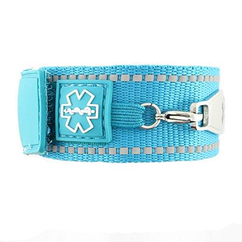 Waterproof Medical Alert ID Bracelet - Custom Engraving Included - Active, Sports -Turquoise Bracelet/Red (M) by N-Style ID (Image #2)