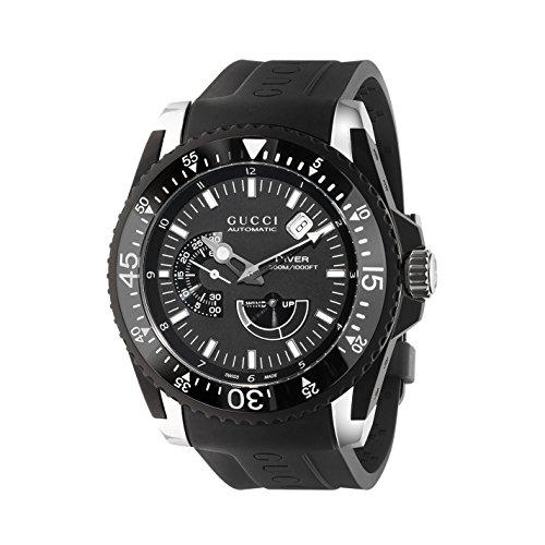 Gucci Dive Black Dial Silicone Strap Men's Watch YA136201