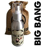 WOODSY OUD | BIG BANG 3.4oz Leave-In BEARD OIL Conditioner & SACK By BEARD of GOD | Organic & Natural Ingredients - Moisturizes Beard Hair and Skin & Eliminates Itching and Dandruff | RARE & EXOTIC