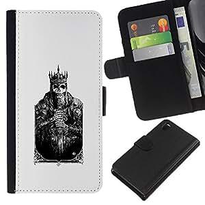 KingStore / Leather Etui en cuir / Sony Xperia Z3 D6603 / Tarjeta de la muerte Cráneo Cartel Poker;