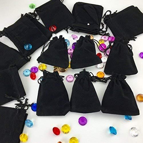Tytroy Black Velvet 3 X 4 Cloth Travel Pouches Party Favor Bags Drawstring Closure (50 pc)