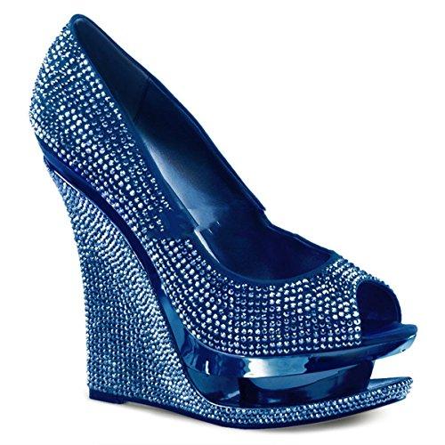 Pleaser Silber blau Donna Tacco Strass Scarpe Col 44xa7q1Cw