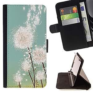 For Sony Xperia Z2 D6502 Case , Diente de león Sun Pintura Primavera Verano- la tarjeta de Crédito Slots PU Funda de cuero Monedero caso cubierta de piel