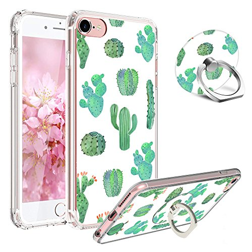 iPhone 6 Plus Case,iPhone 6s Plus Case,Girl Floral Clear Design[Shock-Absorption] Bumper TPU Soft Silicone and Rotating Ring Stand Cover Case for Apple iPhone 6/6s Plus Cactus