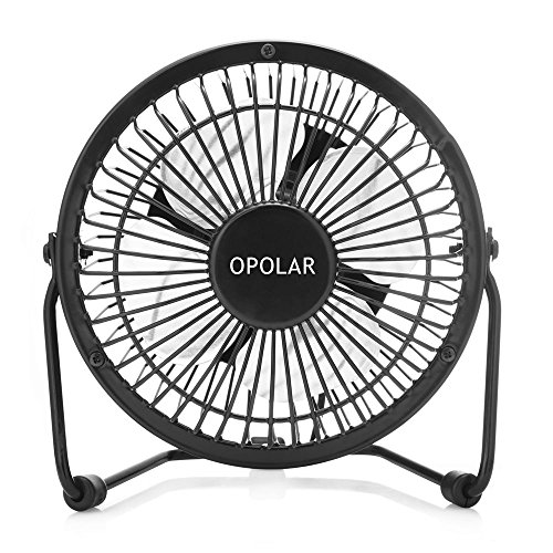 OPOLAR Mini USB Fan (Personal Desktop Fan, Metal Design; 3.9 feet USB Cable, Quiet Operation - Black)