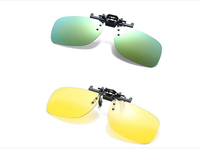 8117e859e62 2Packs Clip-on Sunglasses Unisex Polarized Frameless Rectangle Lens Flip Up  Clip on Prescription Sunglasses