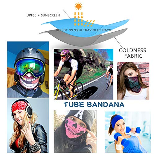 Seahouse 9PCS RANDOM Unisex Personality Seamless Rave Bandana Neck Gaiter Tube Headwear Bandana, Motorcycle Face Bandana for Women Men Face Scarf