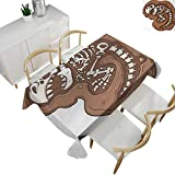 "Dinosaur,Custom tablecloths T Rex Fossil in The Ground Clip Art Style Dead Bones Archeology Prehistory Theme Dinner Picnic Table Cloth Brown White 54""x 72"" -  familytaste"