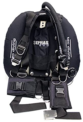 SOPRAS SUB TEC DIVING Doubles BCD Technical Diving SS Backplate 45 lb Lift Wing Adjustable Padded Harness New - Backplate Wing