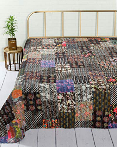 HANDICRAFT-PALACE Boho Kantha Quilt Reversible Indian Handmade Bedding Blanket Cotton Patchwork Queen Size Bedspread Quilt Ethnic (Black)
