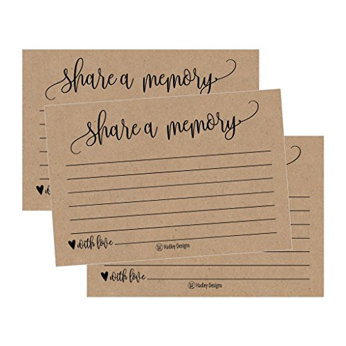 25 Funeral or Birthday Share a Memory Cards Keepsake, Condolence Sympathy Memorial Acknowledgment, Remembrance Appreciation Celebration of Life Service Supplies Guest Book Alternative Advice Game Idea