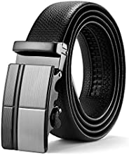ITIEZY Mens Ratchet Leather Dress Belt, Adjustable Slide Belt with Automatic Buckle in Gift Box