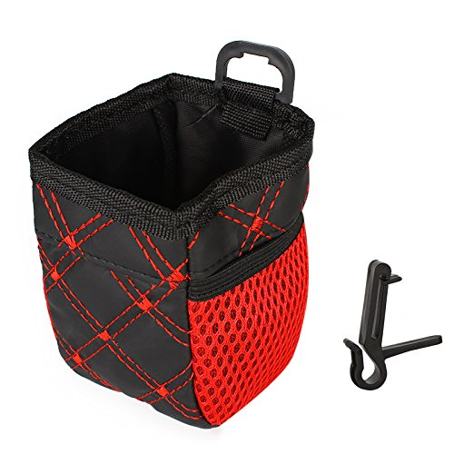 Holdream - Bolsa de almacenamiento para rejilla de ventilación de coche, organizador para alimentos, bolígrafos, tarjetas, teléfono, bolsillo, red roja