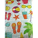 Summertime Fun Vinyl Umbrella Tablecloth with Hole and Zipper Assorted Sizes (52 x 70 Oblong)