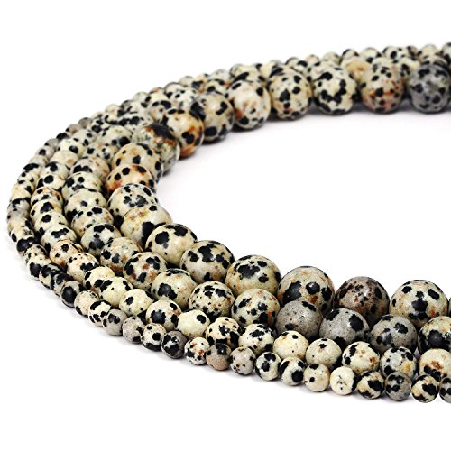 - 8mm Dalmatian Jasper Beads Round Loose Gemstone Beads for Jewelry Making Strand 15 Inch (47-50pcs)