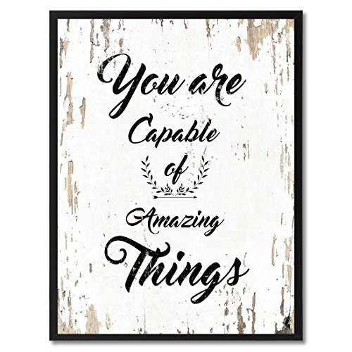 SpotColorArt You are You are Capable of Amazing Things Motivation Quote. Giclee Print on Canvas & Framed Art for Wall Decor, 7