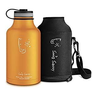 Swig Savvy's Stainless Steel Insulated Water Bottle and Beer Growler Wide Mouth 64Oz Capacity Double Wall Design for Hot and Cold Beverages Includes Water bottle Pouch (Orange)