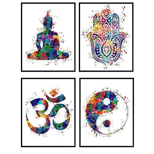 Meditation Zen Wall Art Prints - Unframed Set Of 4 - Buddha, Yin Yang, Om And Hamsa Fatima Hand - Chic Home Decor… 1