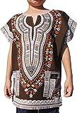 Raan Pah Muang RaanPahMuang Brand Thick Chenamai Cotton Childs Dashiki Boubou Kaftan Shirt, 8-10 Years, Dark Brown