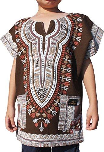 RaanPahMuang Brand Thick Chenamai Cotton Childs Dashiki Boubou Kaftan Shirt, 3-6 Years, Dark Brown