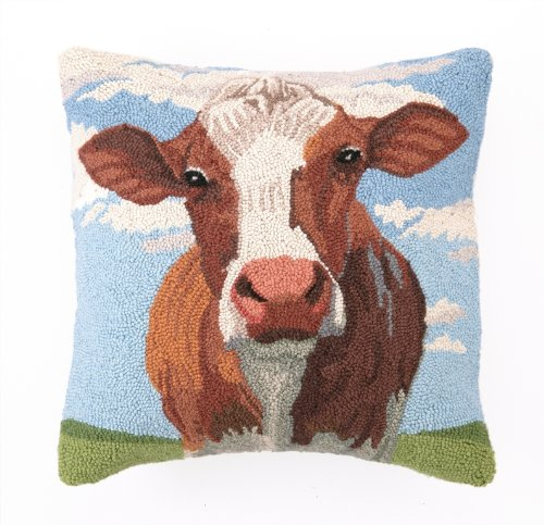 Peking Handicraft 18 by 18-Inch Hook Pillow, Cow Portrait