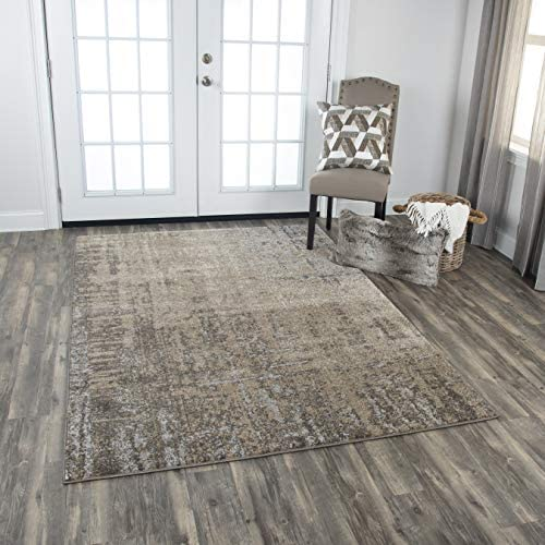 Rizzy Home Valencia Collection Polypropylene Polyester Area Rug, 6 7 x 9 6 , Beige Silver Taupe