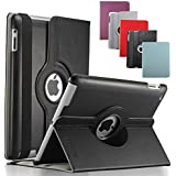 KEVENZ iPad 2/3/4 Cases and Covers for Apple iPad 2 / iPad 3 / iPad 4 Case Cover leather 360 Rotating Stand- Black - K401