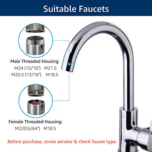 Waterdrop 320-Gallon Long-Lasting Water Faucet Filtration System with Ultra Adsorptive Material, Faucet Water Filter -Fits Standard Faucets - smallkitchenideas.us