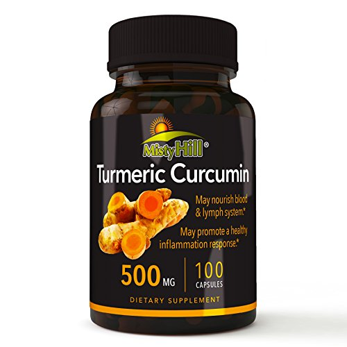 Misty Hill Natural Premium Turmeric Curcumin Extract 500 mg - 100 Capsules Inflammation & Pain Relief, Joint Support with 95% Standardized Curcuminoids Extra Strength. Non-GMO, Gluten Free