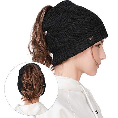 (Womens Girl Cable Knit Ponytail 36% Wool Blend Skull Beanie Warm Soft Fleece Lining Winter Hat Black)