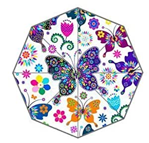 Mariposa con flores personalizado paraguas paraguas de diseño de moda para hombre y mujer con alta calidad