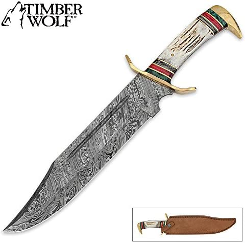 TIMBER WOLF Custom Stag Damascus Steel Fixed Blade Bowie Knife
